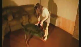 teen with dog