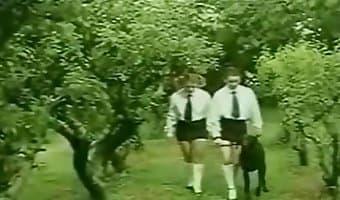 Retro dog fuck video with a schoolgirl